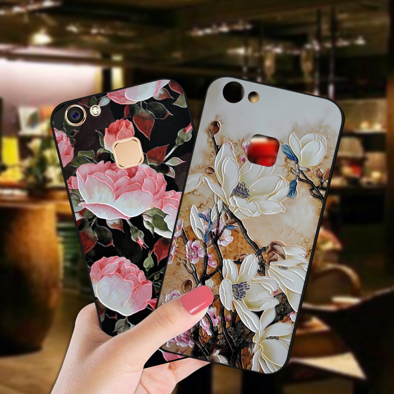 <font><b>3D</b></font> Relief Flower <font><b>Case</b></font> For BBK <font><b>Vivo</b></font> V5 Lite Y66 Y67 <font><b>Y69</b></font> Luxury Flowers Soft Black Cover For <font><b>Vivo</b></font> V7 Plus Y71 Y75 Y79 Cover image