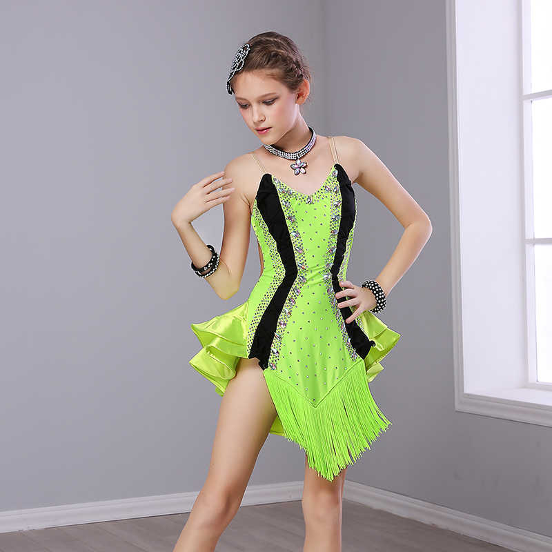 ee8077e3c671 ... Latin Dance Dress For Girls Sexy Sleeveless Ballroom Dancing Dresses  For Kids Tango Clothes Competition Performance ...