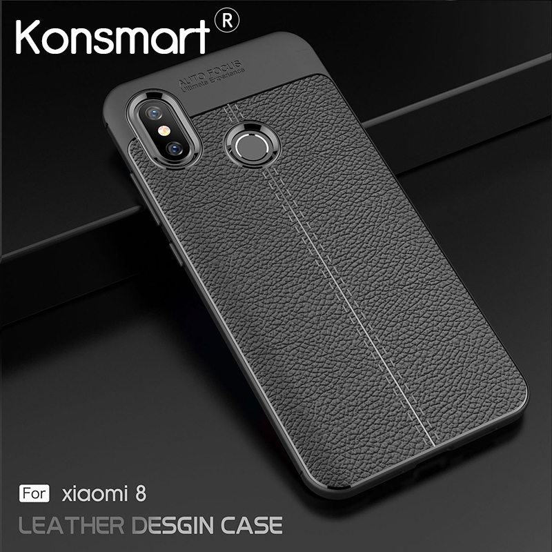 KONSMART Phone Case For <font><b>Xiaomi</b></font> Mi 8 Leather Soft Cover Global <font><b>Mi8</b></font> Case For <font><b>Xiaomi</b></font> Mi 8 <font><b>6GB</b></font> 64GB <font><b>128GB</b></font> 6.21