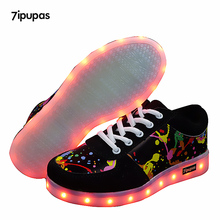 7ipupas 25 44 Graffiti LED รองเท้ารองเท้าแตะเรืองแสงรองเท้าผ้าใบ Sole ตะกร้า Femme ตะกร้าเด็ก Tenis Masculino หญิง