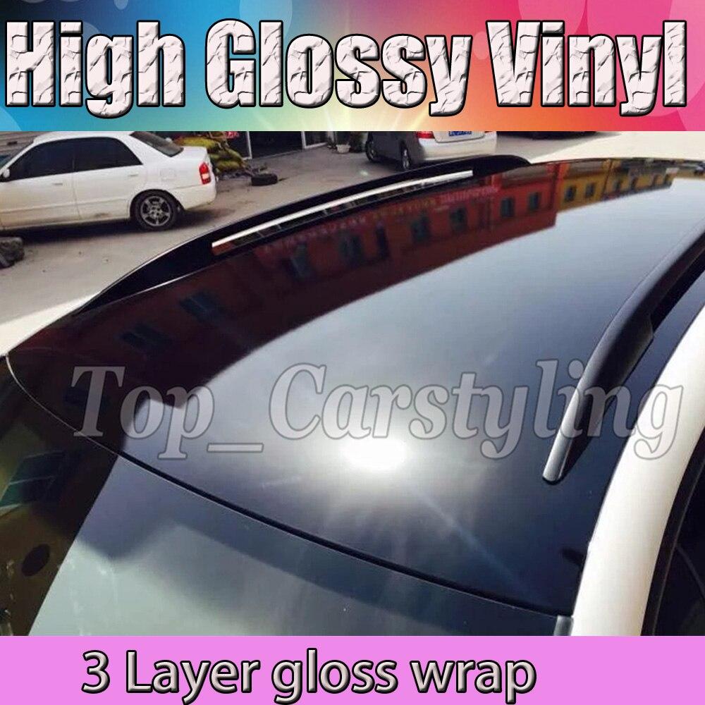 1.52x30 m/roll 3 couches brillant noir vinyle Film voiture Wrap Piano brillant feuille brillante avec bulle libre pour bâches de voiture