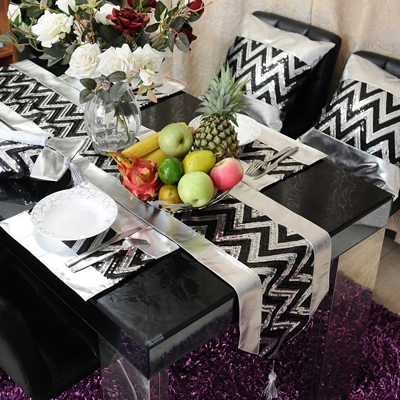 Perfect (30*200cm)Fashion Luxury Black Gold/Black Silver Sequins PU Table Runner/Flag  European Style Home Hotel Party Decoration In Table Runners From Home U0026  Garden ...
