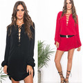 2015 New Casual Women dress Full Sleeve Dresses Black Red 5576