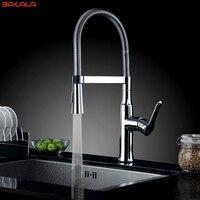 BAKALA Brass Torneira Cozinha Kitchen Faucets Hot And Cold Water Chrome Basin Sink Square Cozinha Taps