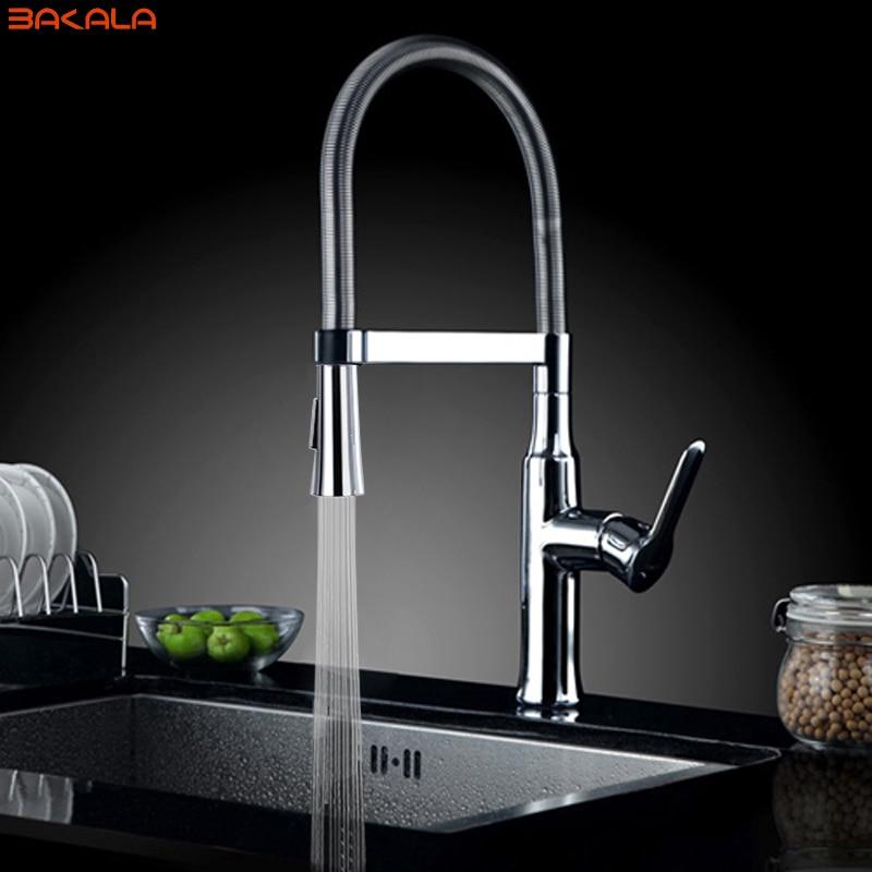 BAKALA torneira cozinha kitchen faucets hot and cold water chrome basin sink square cozinha taps mixers torneira de cozinha