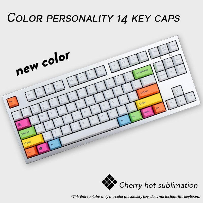 14 Key/pack Original Cherry Profile Personality Colorful PBT Key Caps Dye Sublimation Mechanical Keyboard Keycaps