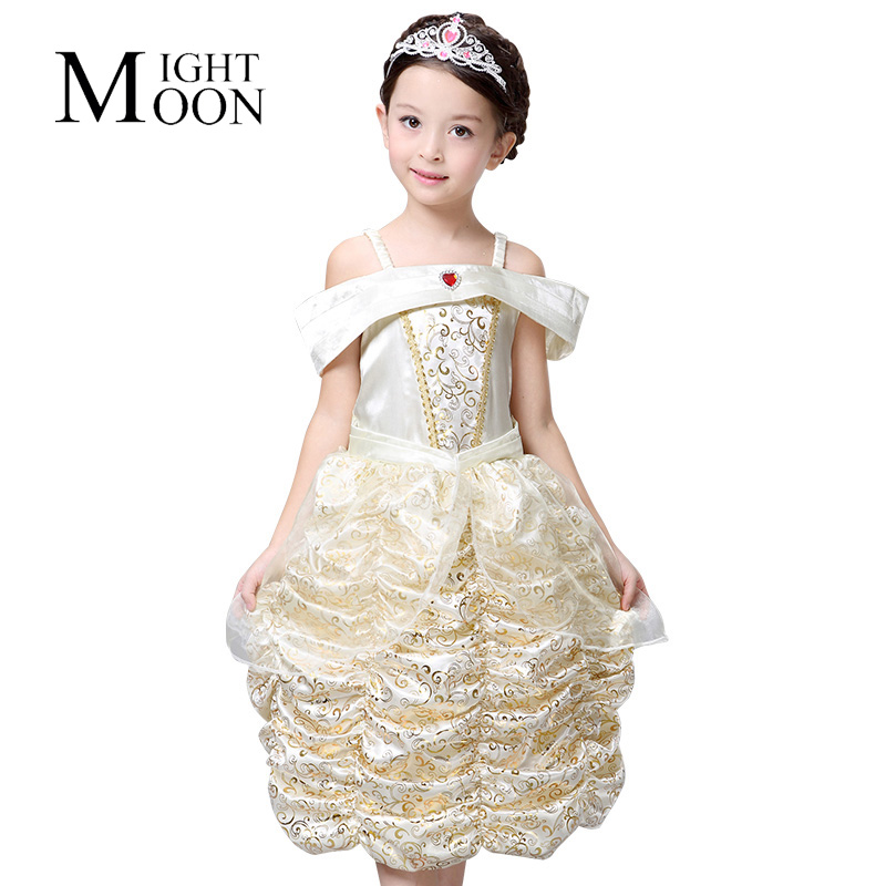MOONIGHT Girl Princess Dress Children Belle Costume Deluxe Girl Cosplay Party Dresses Gown Kids Dress Up