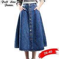 Plus Size Xxs To 7Xl Button Down Pleated Jeans Skirts Women Fashion A Line High Waist