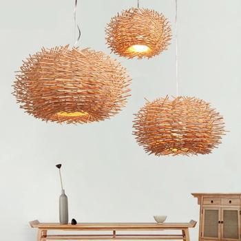 Modern Kolye Lamba Ahşap Kuş Yuva Kamışı Dokuma Kolye Işık Kişilik Yemek Odası Bar Kahve Dükkanı Kitabevi Dekorasyon Lambası