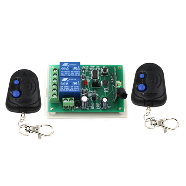 24V 2CH Wireless Remote Control Switch Receiver Board & 2Transmitter Remote Controller Relay Switch with Blue Button 315/433mhz