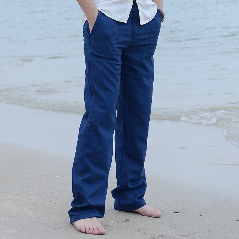 2018 Mens Summer Casual Pants Cotton Natural Linen Pants White Lined Straight Pants #401 ...