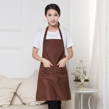 Simple solid color High Quality 6 Colors Plain Apron+Pocket For Chefs Butcher Kitchen Fashion Apron With Pockets