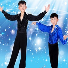 New boy dance set children Latin dance clothes children's dance clothing practice clothes shirt + pants