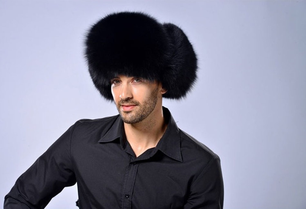 TRUPPER FOX RACCOON FUR FUR HAT LEATHER REAL MES'S Ushanka SHAPKA - Aksesorë veshjesh - Foto 4