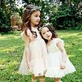 Nuevos Vestidos De Encaje Para Las Niñas Dulce O-cuello Roupas Infantis Menina Vestido de Malla Con la Mosca de La Manga Simple Y Elegante de Los Niños vestido