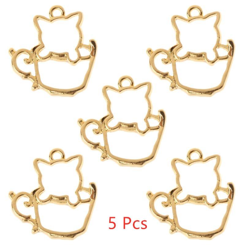 5 Pcs UV Epoxy Border AB Hollow Teacup Cat DIY Pendant Jewelry Crystal Glue Frame DIY Accessories Crafts Jewelry Making Tools