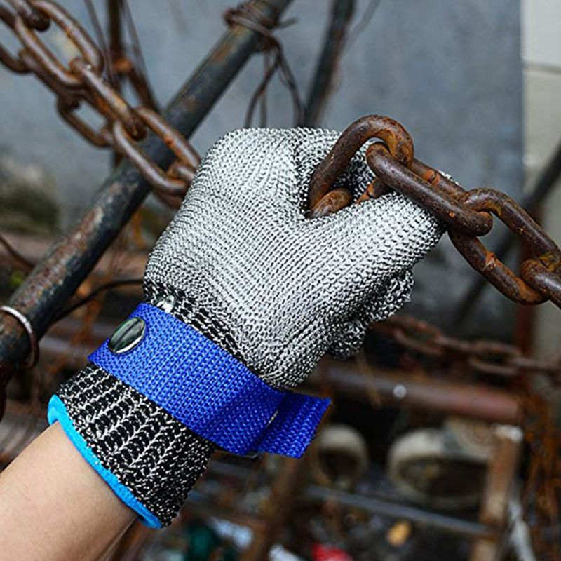 Blue Red Safety Cut Proof Stab Resistant Stainless Steel Metal Mesh Butcher Glove High Performance Level 5 Protection