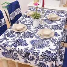 2016 Behome High quality Chinese style blue and white porcelain printed cotton cloth cotton cloth tablecloths lace suit