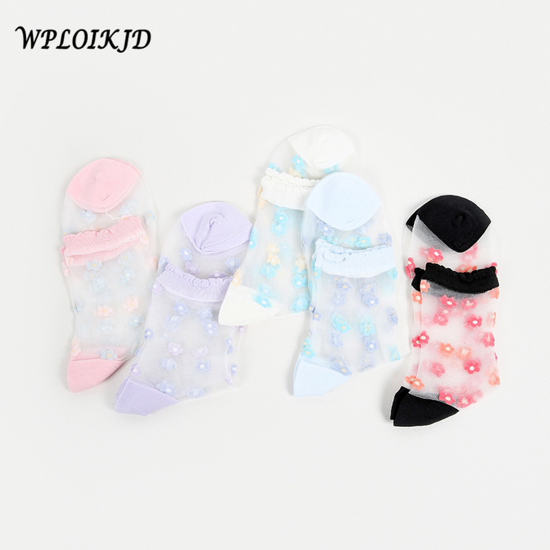 [WPLOIKJD]Japan Harajuku Transparent Socks Art Socks Embroidery Lace Flowers Glass Women Thin Cute Calcetines Mujer
