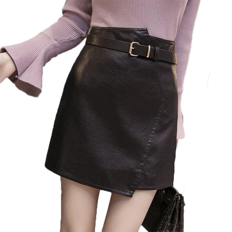 Women's A Line Leather Skirt 2018 New Autumn Winter Irregular Soft PU Mini Skirts Female High Waist Slim Shorts Saias with Belt