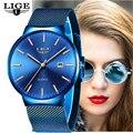 LIGE, женские часы, Лидирующий бренд, Роскошные Аналоговые кварцевые часы, женские полностью синие сетчатые часы из нержавеющей стали с датой,...