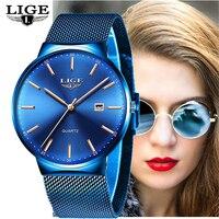 LIGE bayan saatler Top marka lüks Analog quartz saat kadınlar tam mavi örgü paslanmaz çelik tarih saat moda ultra-ince arama