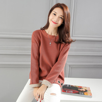 New Cute Patchwork Loose Solid O Neck Rivet Season Sets Sweater Blouse Shirt Blue Dark Pink