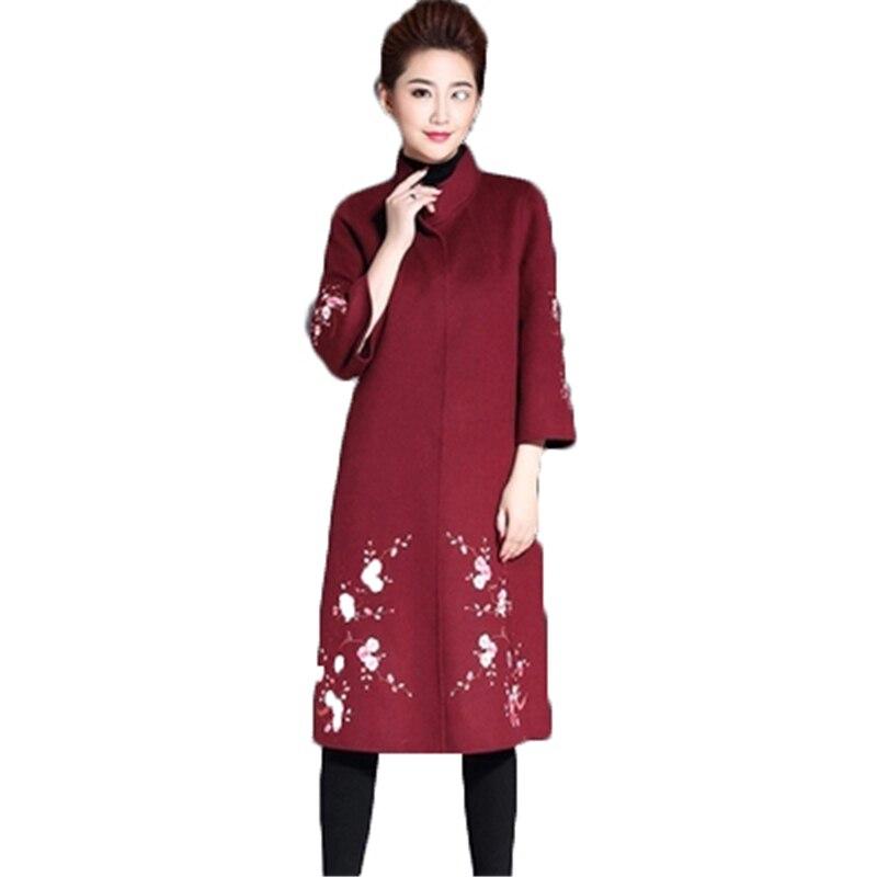 M-5XL2018 nouveau hiver femme grande taille Vintage manteau de laine broderie lâche femmes pardessus femmes vêtements en laine vêtements d'extérieur J901