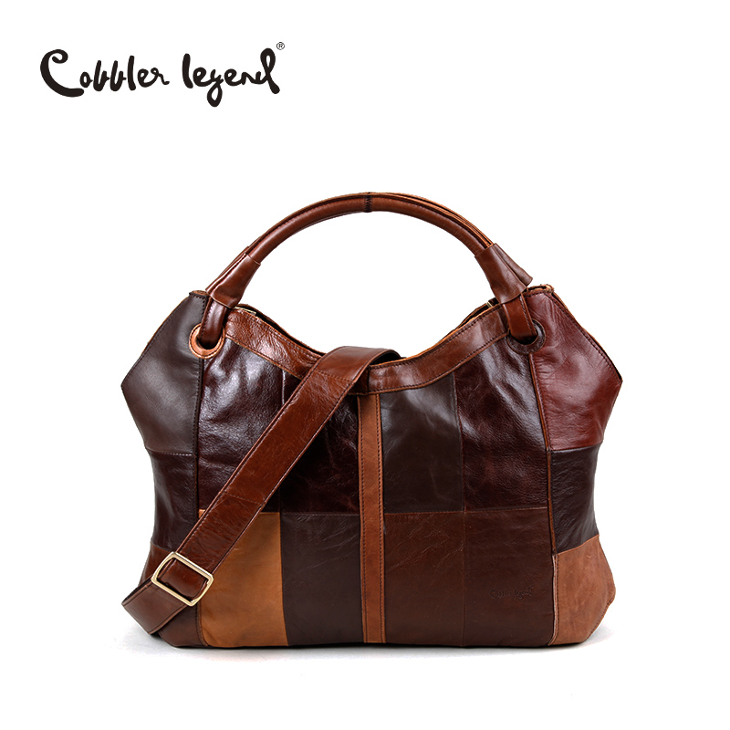 Cobbler Legend 2017 New Fashion Patchwork Genuine Leather Ladies Tote Bag Large Leather Women's Shoulder Leather Handbags 208261 qiaobao 100% genuine leather handbags new network of red explosion ladle ladies bag fashion trend ladies bag