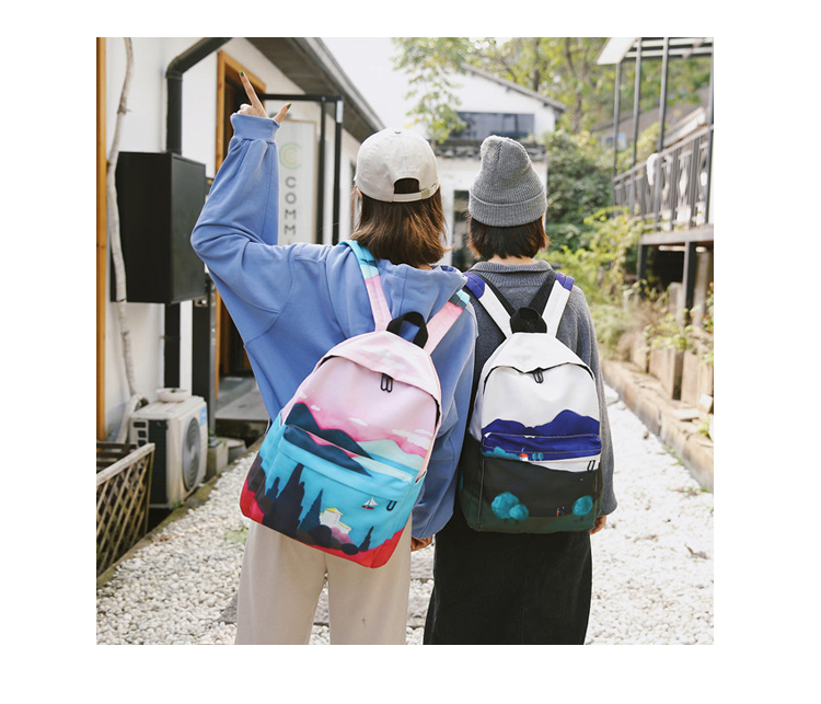 Menghuo Fresh Canvas Backpack Women Landscape School Bags for Teenagers Girls New Backpack Travel Bag Rucksack Mochilas Knapsack_34_12