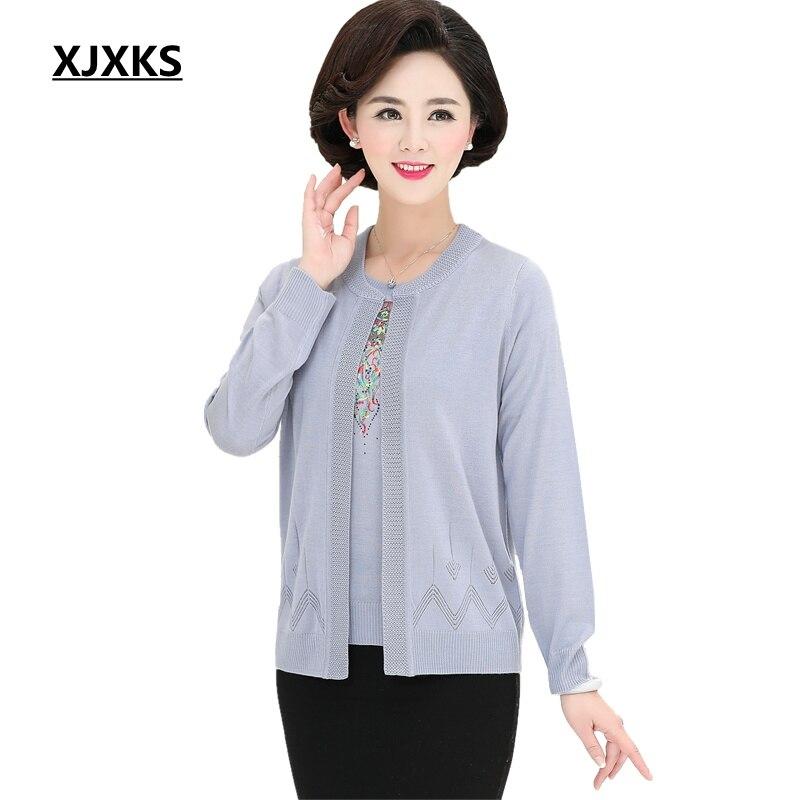 XJXKS 2019 Spring Auutumn Mother Clothing Set Sweater Female Cardigan Fashion Sweaters Embroidery Women Outerwear Thin