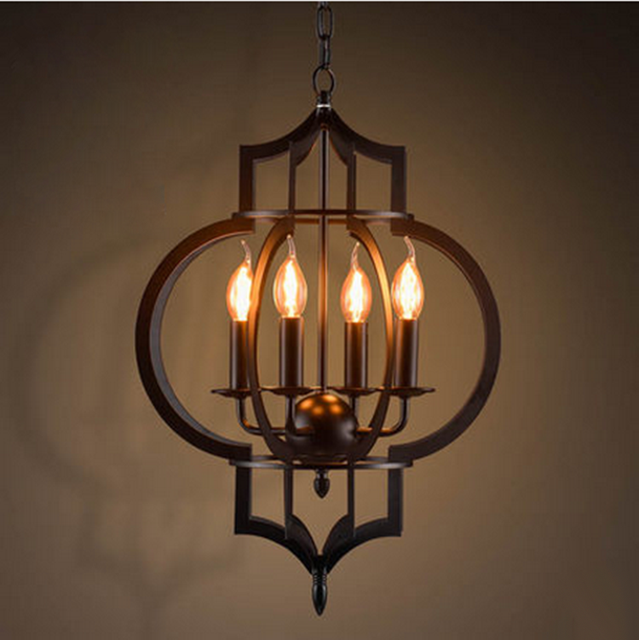 Modern Nordic creative iron 4*E14 LED candle bulb chandelier lamp American restaurant decoration retro industrial chandelier