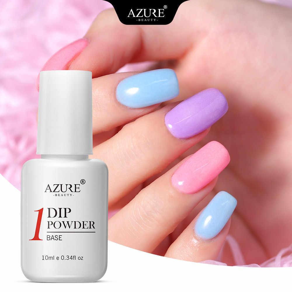 Azure Beauty 9 Pcs/lot Mencelupkan Bubuk Kuku Seni Bubuk Dekorasi Gradien Warna DIP Bubuk Kuku Debu Base Coat Gel Top set