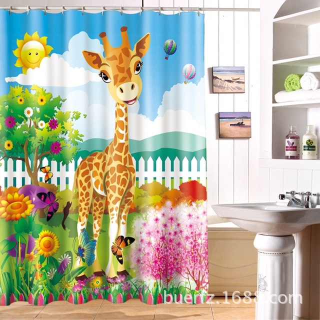 Childrenu0027s Partition Waterproof Giraffe Shower Curtain Cartoon Shower  Curtains Bathroom Curtains Free Shipping