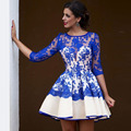 Arabic Royal Blue Short Cocktail Dresses 2017 Lace Cute Homecoming Dress with Sleeves Vestido Curto 8th Grade Graduation Gowns