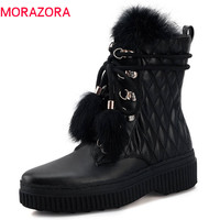 MORAZORA/2018 г. наивысшего качества натуральная кожа женские ботильоны с круглым носком теплые зимние ботинки удобная модная обувь на платформе
