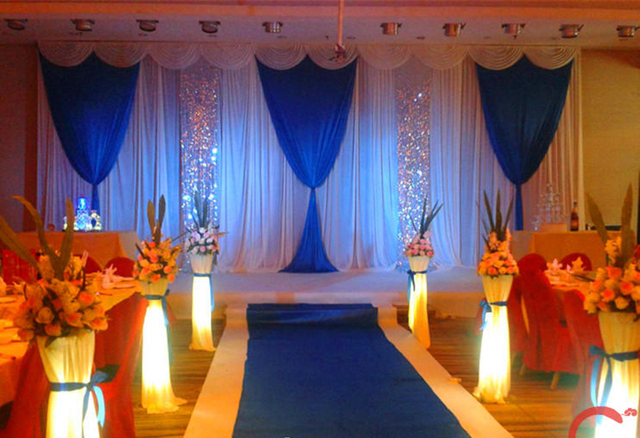 Classic Style 3m 6m Royal Blue Wedding Backdrop With Sequin Swag