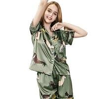 Womens Sleep Pajama Sets Summer Casual Silk Pajamas New Short Animal Turn Down Collar Shorts Two Piece Suit Tracksuit Pajama Set