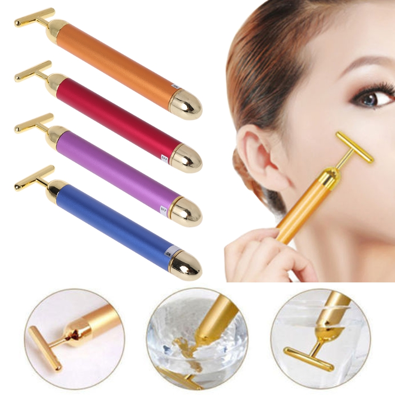 Classical 24K Golden Beauty Electric Firming Slimming Facial Pulse Roller Massager Anti Wrinkle Anti-aging Face Skin Care New