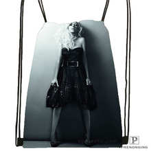 Custom christina aguilera   Drawstring Backpack Bag Cute Daypack Kids Satchel (Black Back) 31x40cm#180612-03-christina aguilera