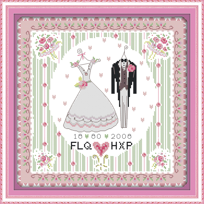 Wedding dress, counted printed on fabric DMC 14CT 11CT Cross Stitch kits,embroidery needlework Sets, Home Decor
