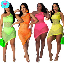 2019 летние европейские и американские моды сексуальная сетка печати ночной клуб платье косой из