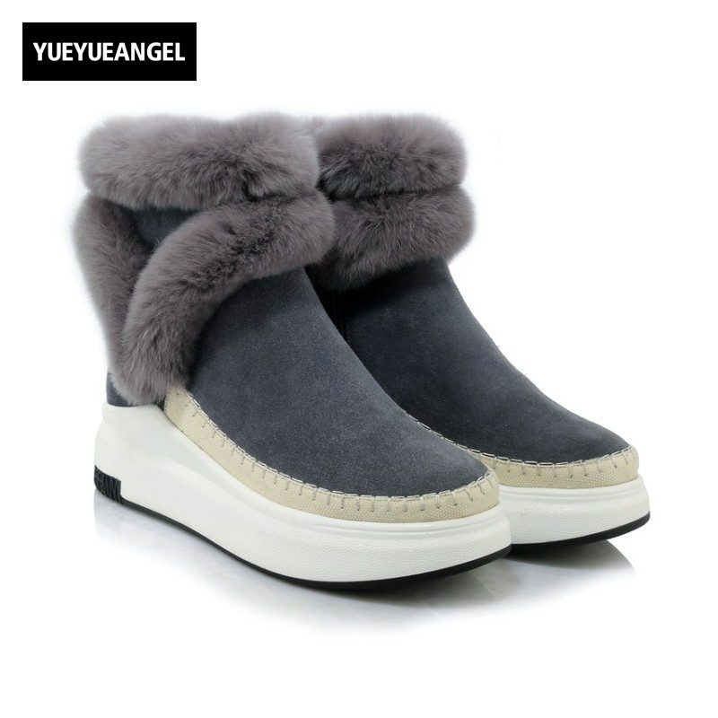 Фото 2018 Winter New Arrival Women Snow Boots Side Zipper Round Toe For Women Wedges Shoes Genuine Leather Lady Warm Fur Ankle Boots