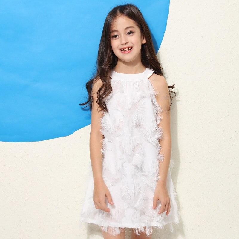 2018 été filles robe douce blanc rose gland vêtements pour adolescents coréen mignon robe Design Feather56789 10 11 12 13 14 ans