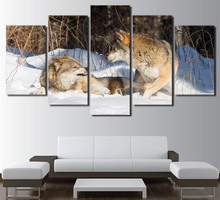 HD Printed Modular Art Canvas Poster Framework Home Decoration 5 Panel Wolf Snow Landscape Living Room Wall Pictures Painting