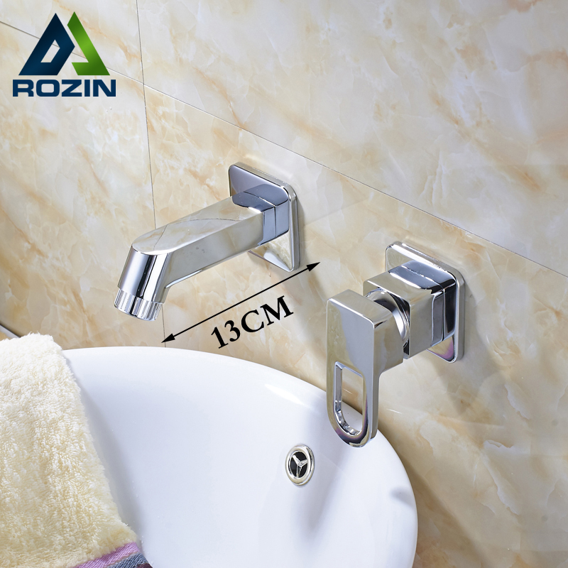 Wall Mounted Dual Hole Basin Vanity Sink Faucet Single Handle Brass Chrome Bathroom Washing Mixer Taps antique brass and golden bathroom washing basin faucet single handle brass short vanity sink mixer taps