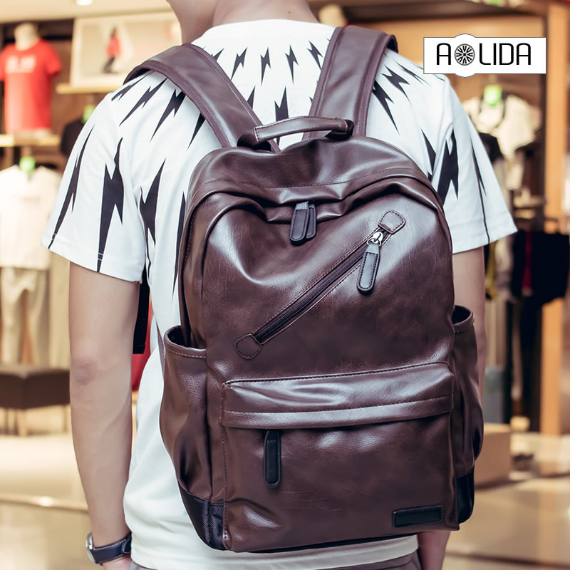 Mens Backpack Black Brown PU Leather Travel Bag Men Laptop Backbag Male Leisure High Capacity backpack