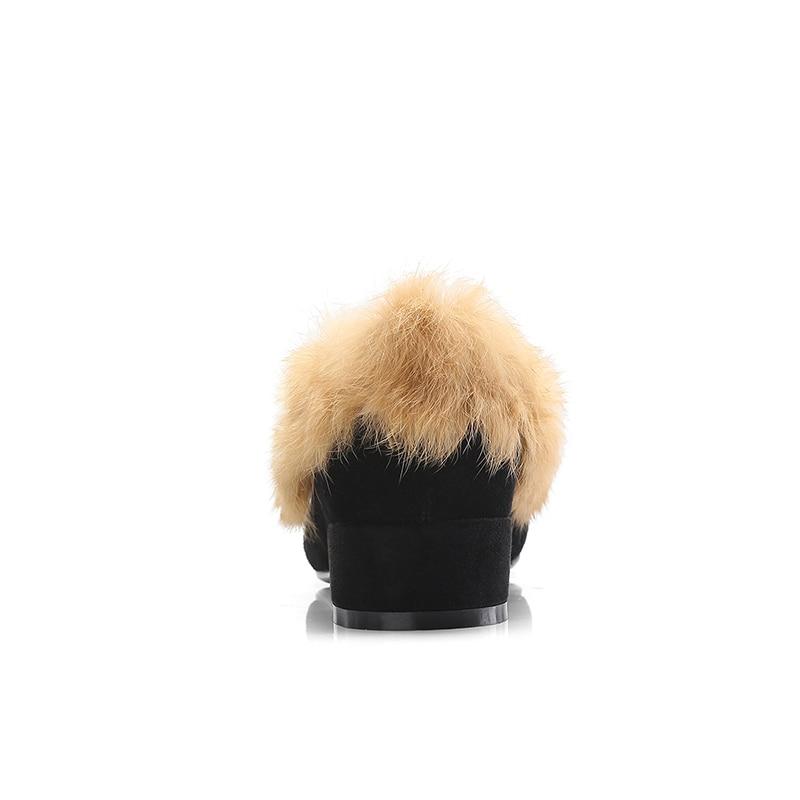 2019 De Peluche Bas Hiver Chaudes Fourrure Nouveau En Bout Printemps jujube Mode Carré Wetkiss Black Chaussures Femme Casual Red Femmes Talons Pompes 5a0wxqvqd
