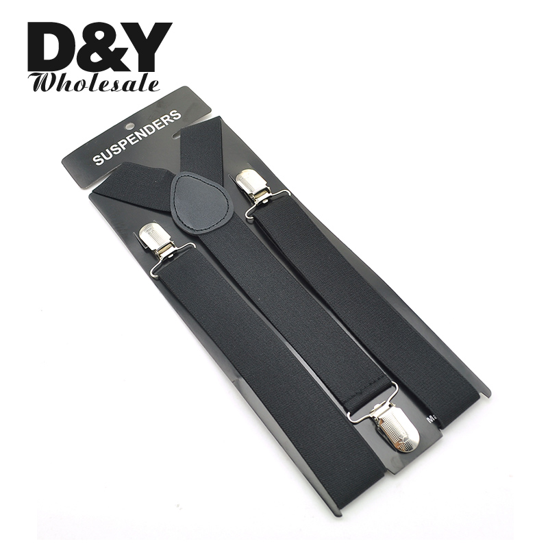 Men's Suspenders Unisex Clip-on Braces Elastic 3.5cm Black Y-back Suspender For Trousers Pants Holder Gallus Wholesale Retail