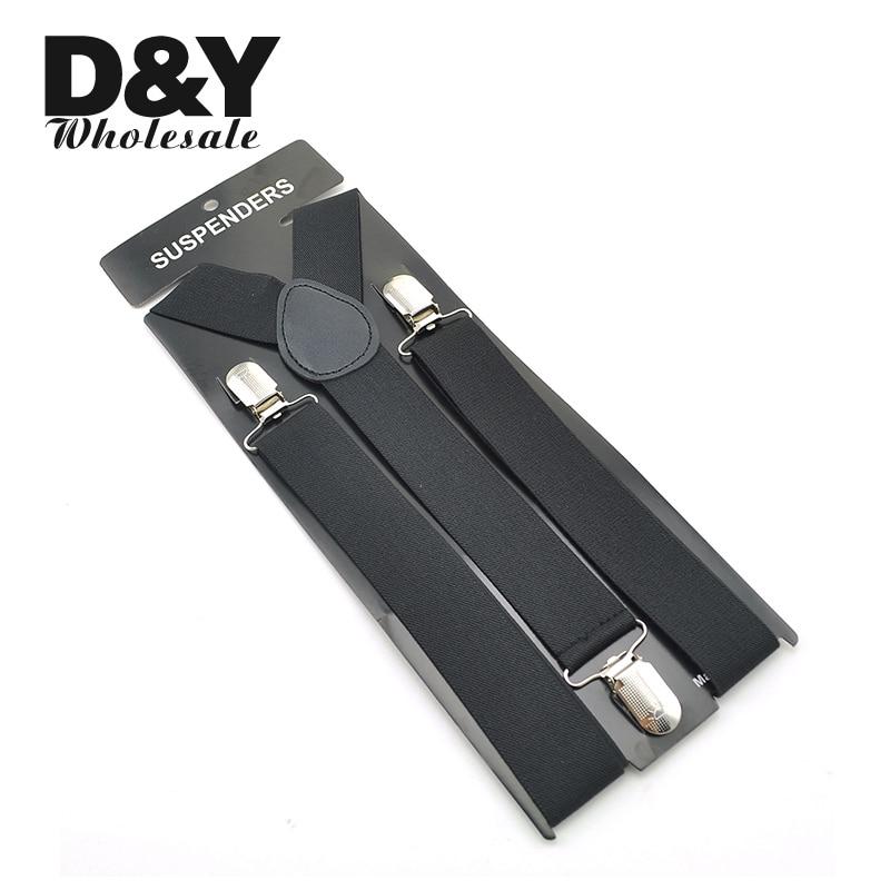 Men's Suspenders Unisex Clip-on Braces Elastic 3.5cm Black Y-back Suspender For Trousers Pants Holder Gallus Wholesale Retail